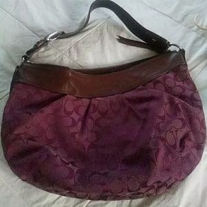 Coach Signature Purple Hobo Sholder Bag